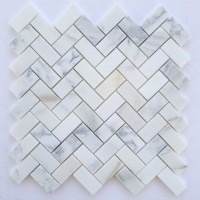 1x2 Herringbone Honed Calacatta Marble
