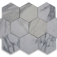 1x1 Honed Calacatta Marble Hexagon