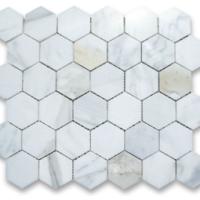 2x2 Honed Calacatta Marble Hexagon