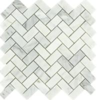 Carrara Marble HONED 1X2 HERRINGBONE
